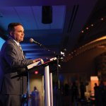 Cincinnati Mayor John Cranley speaks at the Impact 100 awards celebration.