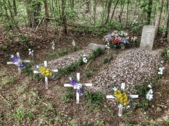 This gravesite of a father and son was located at the far edge of one cemetery and was carefully delineated with small plastic and wood crosses.