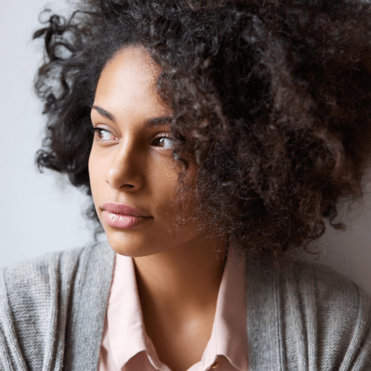 african american woman reflecting