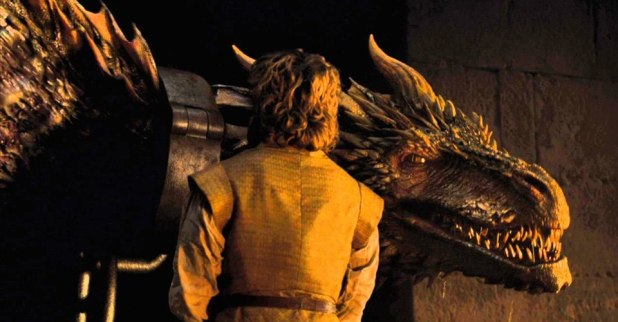tyrion lannister and drogon locked up game of thrones