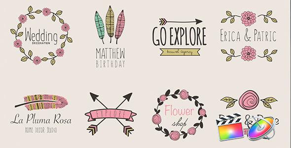 Typographic Logo – 花柄が綺麗なアップルモーション&ファイナルカットプロのタイトルテンプレート