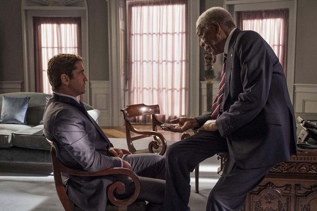 Gerard Butler and Morgan Freeman in Angel Has Fallen