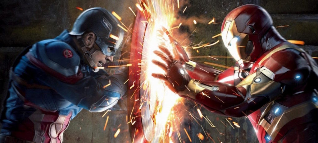 Captain America and Iron Man face off in Avengers: Infinity War.
