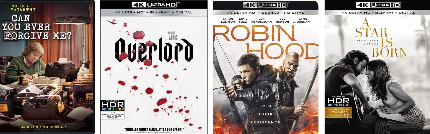 Overlord, Robin Hood, A Star is Born and Can You ever Forgive me come home this week on Blu-ray and DVD.