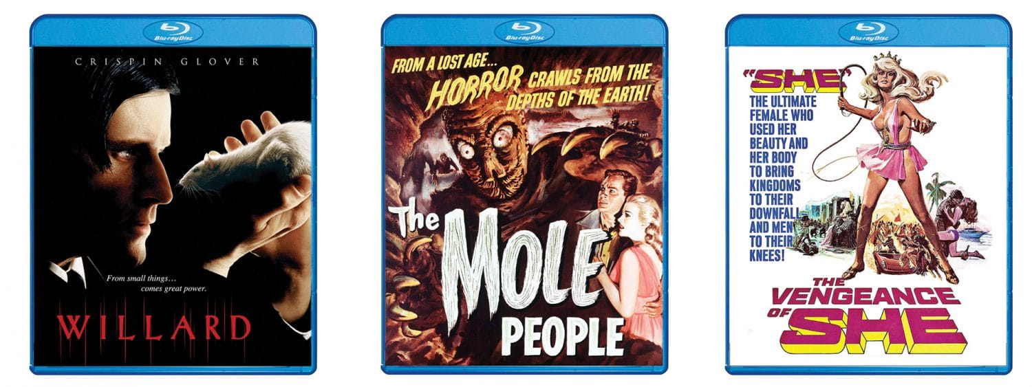 The Mole People, Willard and The Vengeance of She are coming to Blu-ray through Shout! Factory's Scream Factory label.