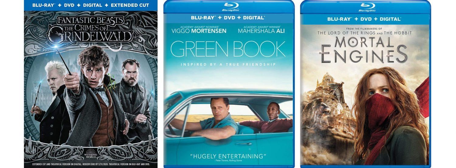 New releases on Blu-ray and DVD this week include Fantastic Beasts: The Crimes of Grindelwald, Green Book and Mortal Engines.