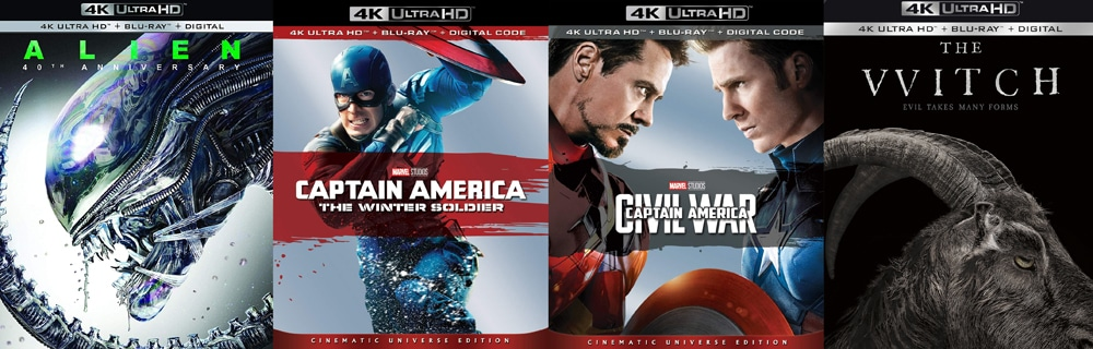 Captain America: The Winter Soldier and Civil War are both hitting 4K alongside The Witch and Alien.
