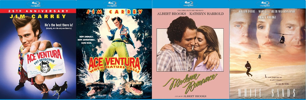 Ace Ventura, it's sequel, Modern Romance and White Sands all come to Blu-ray this week.