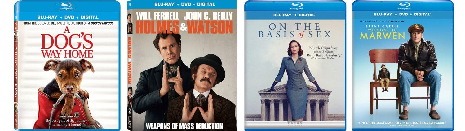 Check out the April 9, 2019 new releases, including a Dog's Way Home, On the Basis of Sex, Holmes and Watson and Welcome to Marwen.