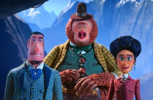 (L to R) Sir Lionel Frost voiced by Hugh Jackman, Mr. Link voiced by Zach Galifianakis and Adelina Fortnight voiced by Zoe Saldana in director Chris Butler's MISSING LINK, a Laika Studios Production and Annapurna Pictures release. Credit : Laika Studios / Annapurna Picture