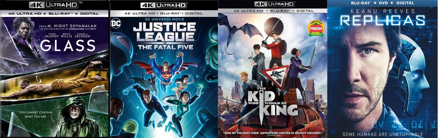 New releases for April 16, 2019 include blu-ray, DVD and 4K releases of Glass, Justice League vs the Fatal Five, The Kid who Would be King and Replicas.