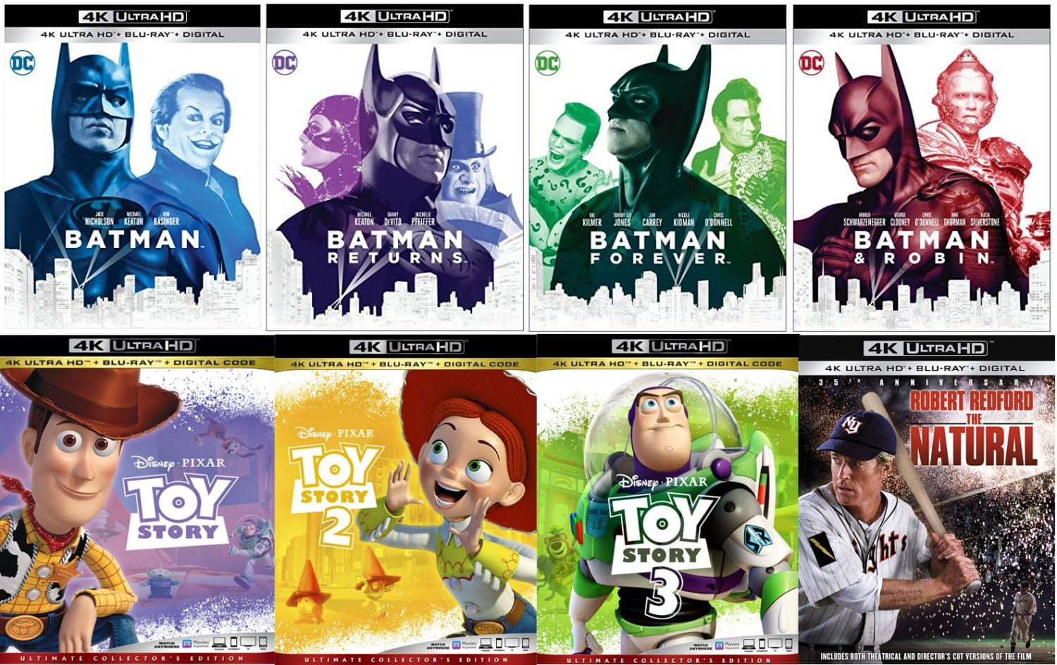 Four Batman movies and three Toy Story movies join The Natural on 4K ultra HD.