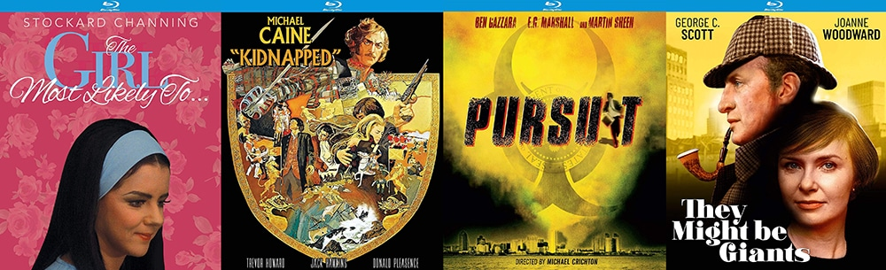 Look for They Might Be Giants, Kidnap, Pursuit and The Girl Most Likely to hit Blu-ray this week from Kino Lorber Studio Classics.