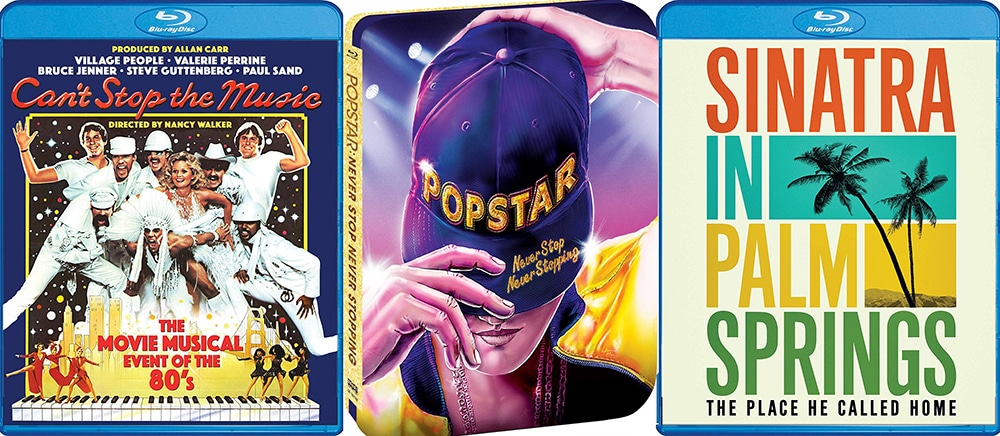 Look for Can't Stop the Music, Poster: Never Stop Never Stopping and Sinatra in Palm Springs, all on Blu-ray today from Shout Factory.