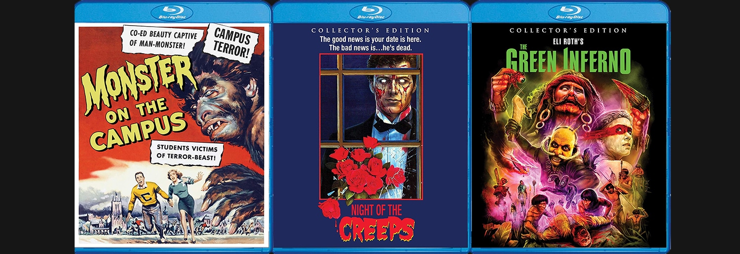 Scream Factory is bringing to Blu-ray The Green Inferno, Night of the Creeps and Monster on Campus.