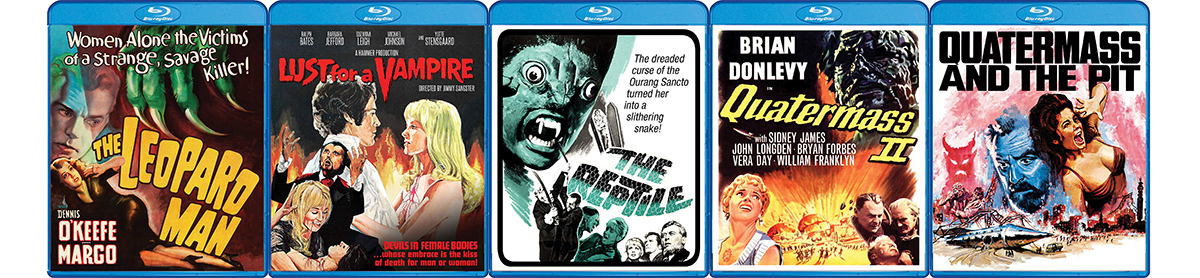 Look for lots of great classic horror from Scream Factory this week, including blu-rays of Quatermass II, Quatermass and the Pit, The Reptile, Lust for the Vampire and The Leopard Man.