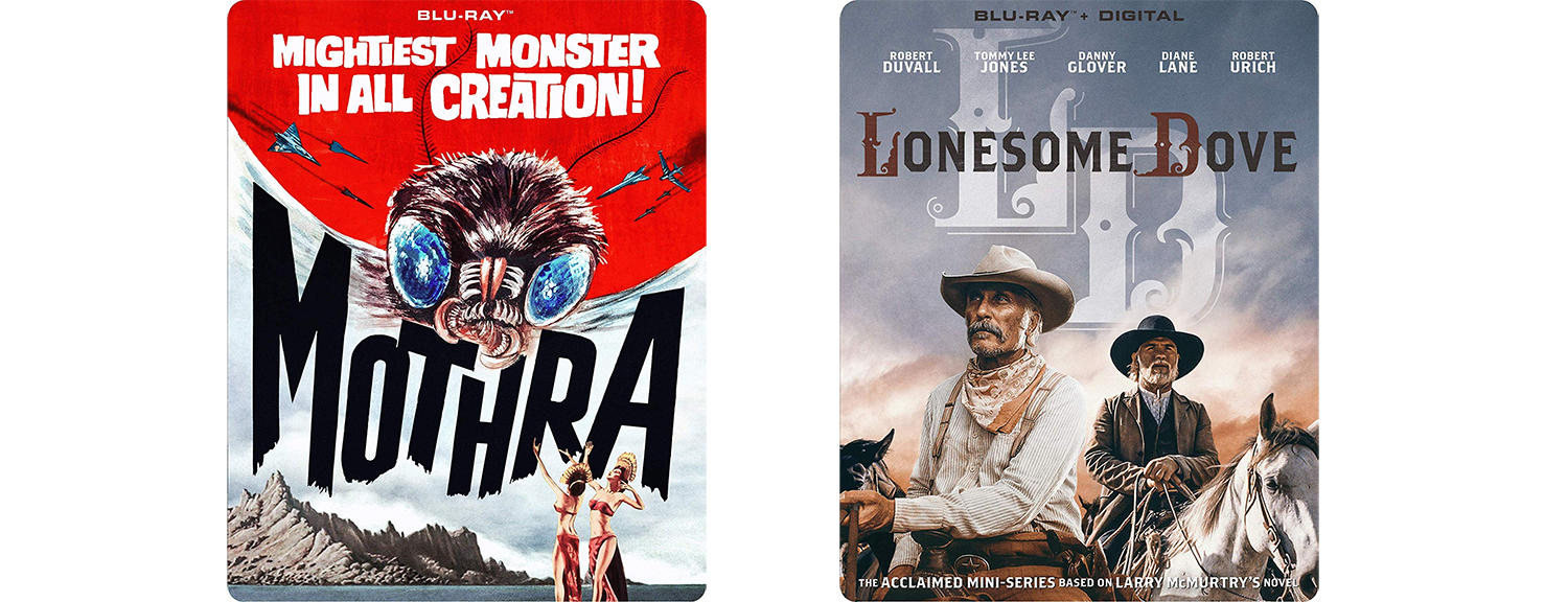 Mothra and Lonesome Dove are both getting Blu-ray steelbooks this week from Mill Creek Entertainment.