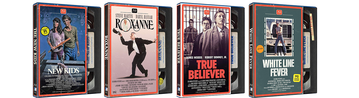 Look for new Blu-ray editions in VHS packaging, including Roxanne, True Believer and more!