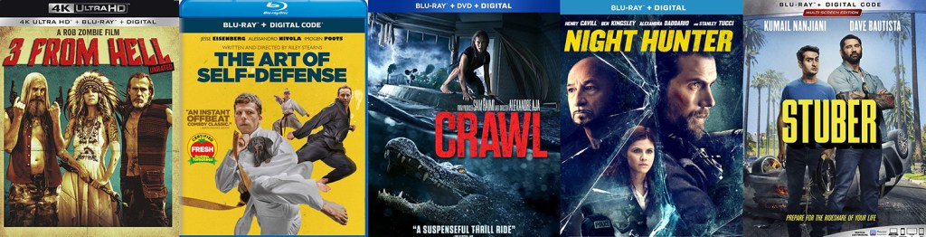 Look for lots of great titles to come to blu-ray and dvd on October 15, including Crawl, 3 From Hell, The Art of Self Defense and Stuber.