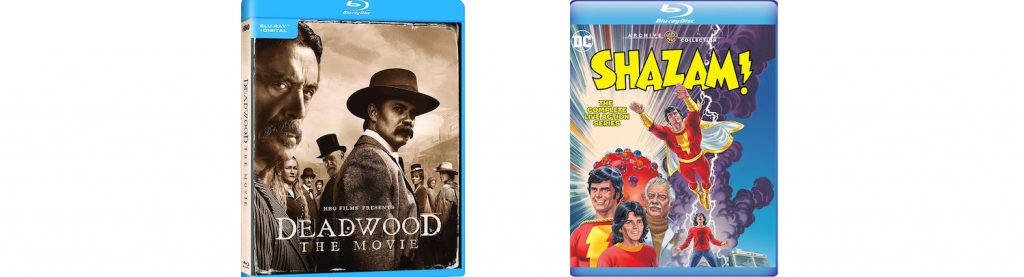 Small screen titles this week include HBO's Deadwood movie and the complete Shazam tv series on Blu-ray from Warner Archive.