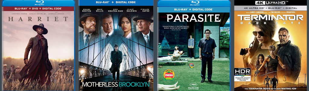 Harriet, Motherless Brooklyn, Parasite and Terminator: Dark Fate hit blu-ray and DVD today.