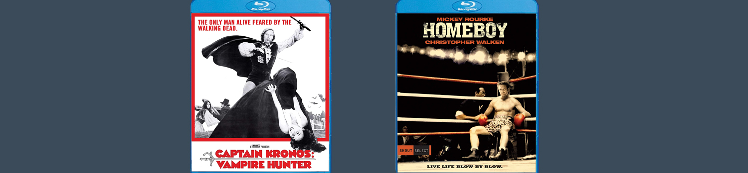 Captain Kronos Vampire Hunter and Homeboy are now available on Blu-ray from Shout Factory and Scream Factory.