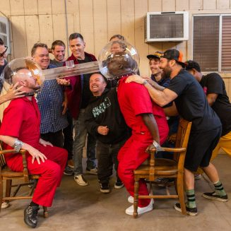 """Johnny Knoxville, Ehren McGhehey, Preston Lacy, Sean """"Poopies"""" McInerny, Steve-O, Dave England, Wee Man, Dark Shark, Chris Pontius, Jasper and Nick Merlino in jackass forever from Paramount Pictures and MTV Entertainment Studios."""