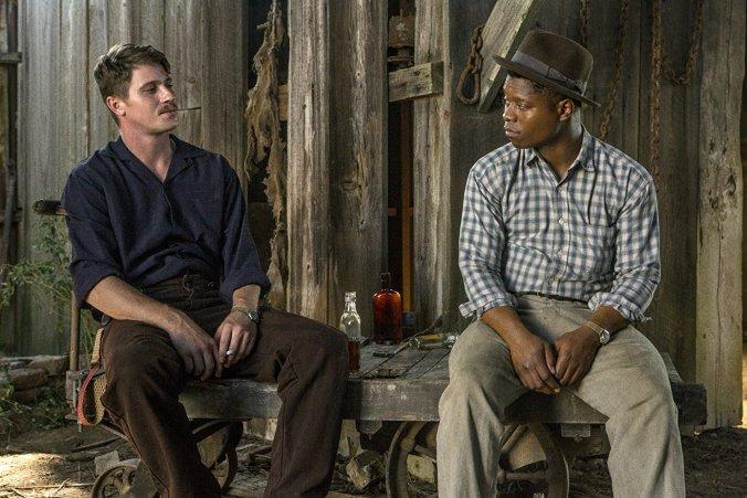 Garrett Hedlund and Jason Mitchell in Mudbound