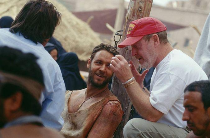 Ridley Scott on the set of Gladiator