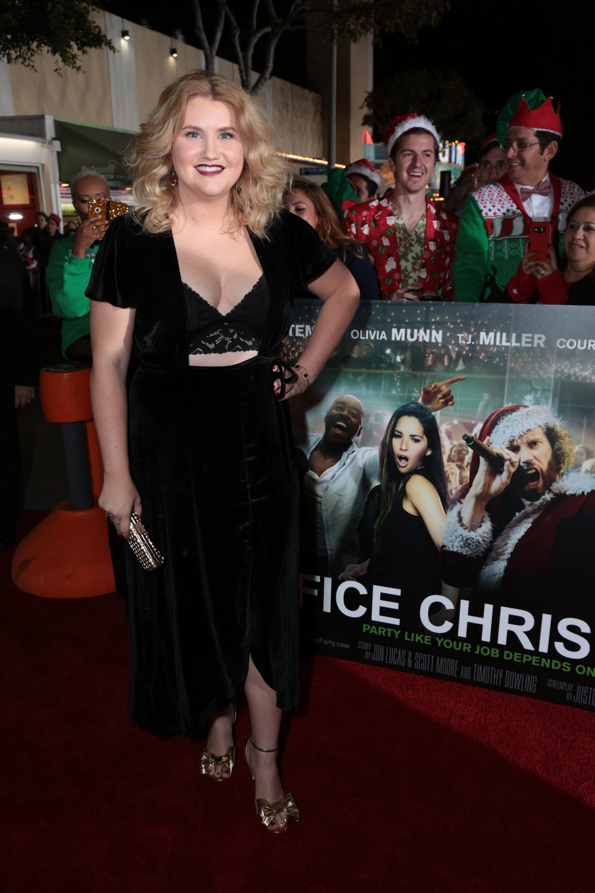 """Jillian Bell poses as Paramount Pictures presents the Los Angeles premiere of """"Office Christmas Party"""" at the Regency Village Theater in Los Angeles, CA on Wednesday, December 7, 2016  (Photo: Alex J. Berliner / ABImages)"""