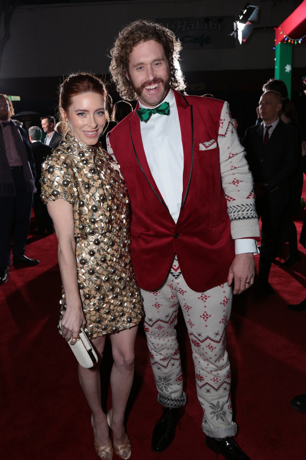 "Kate Miller and T.J. Miller pose as Paramount Pictures presents the Los Angeles premiere of ""Office Christmas Party"" at the Regency Village Theater in Los Angeles, CA on Wednesday, December 7, 2016  (Photo: Alex J. Berliner / ABImages)"