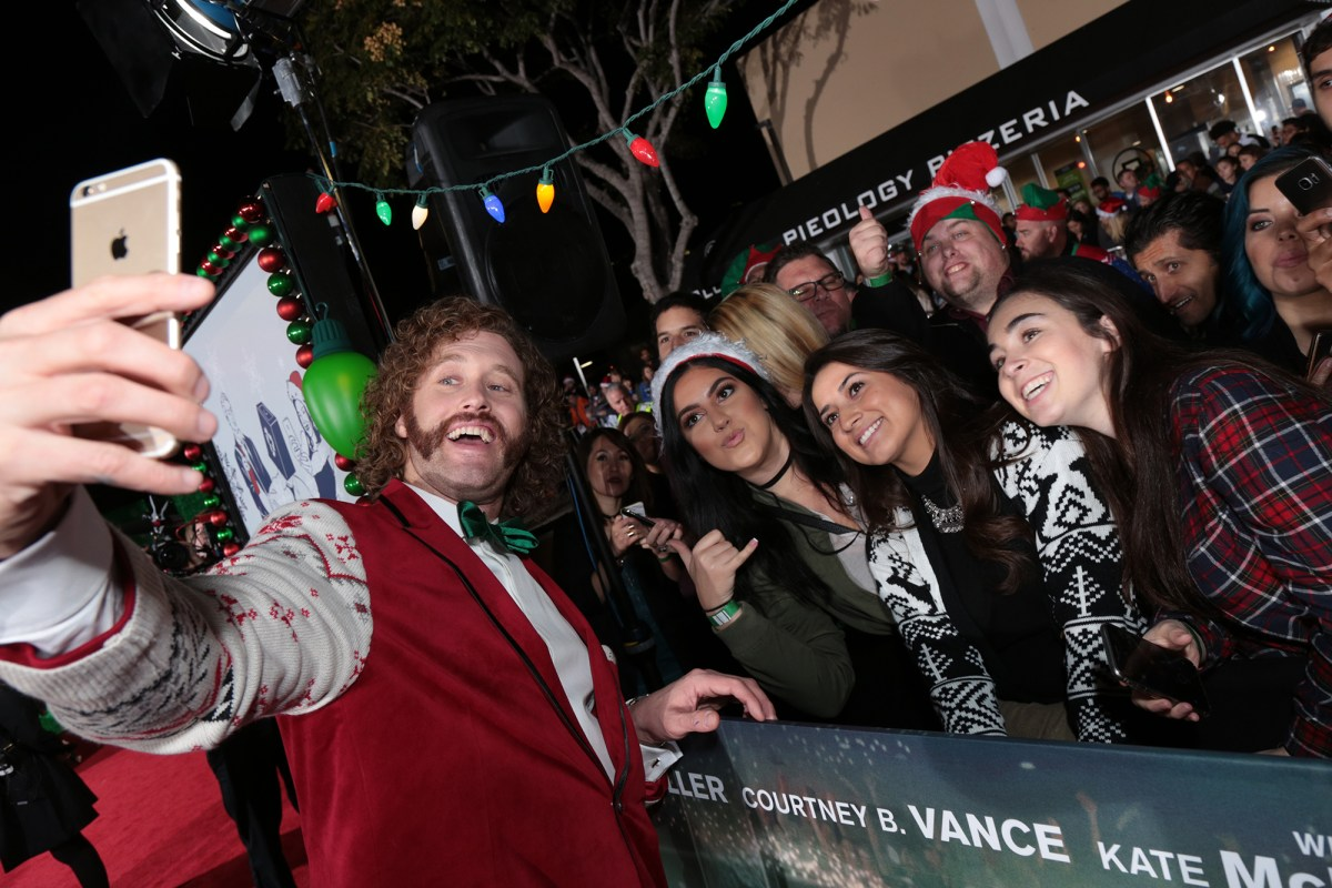 "T.J. Miller takes a selfie as Paramount Pictures presents the Los Angeles premiere of ""Office Christmas Party"" at the Regency Village Theater in Los Angeles, CA on Wednesday, December 7, 2016  (Photo: Alex J. Berliner / ABImages)"