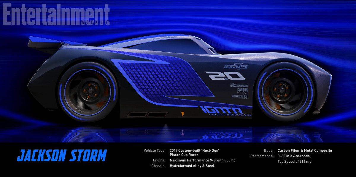 CARS 3 Jackson Storm (voice of Armie Hammer) Jackson Storm is fast, sleek and ready to race. A frontrunner in the next generation of racers, Stormís quiet confidence and cocky demeanor are off-puttingóbut his unmatched speed threatens to redefine the sport. Trained on high-tech simulators that are programmed to perfect technique and maximize velocity, Jackson Storm is literally built to be unbeatableóand he knows it. ©2016 DisneyïPixar. All Rights Reserved.