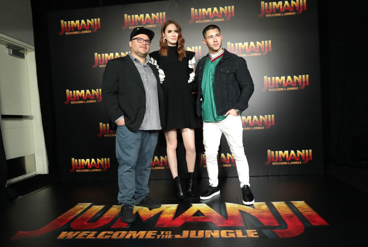 Jack Black, Karen Gillan and Nick Jonas seen at Columbia Pictures 'Jumanji: Welcome to the Jungle' photo call at 2017 CinemaCon on Monday, March 27, 2017, in Las Vegas.
