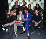 SAN DIEGO, CA - JULY 22: (Back row L - R) Actors Jeff Goldblum, Karl Urban, Tessa Thompson, Rachel House, (front row L-R) Mark Ruffalo, director Taika Waititi, actors Cate Blanchett, Chris Hemsworth and Tom Hiddleston from Marvel Studios' 'Thor: Ragnarok' at the San Diego Comic-Con International 2017 Marvel Studios Panel in Hall H on July 22, 2017 in San Diego, California. (Photo by Alberto E. Rodriguez/Getty Images for Disney) *** Local Caption *** Jeff Goldblum; Karl Urban; Tessa Thompson; Rachel House; Mark Ruffalo; Taika Waititi; Cate Blanchett; Chris Hemsworth; Tom Hiddleston