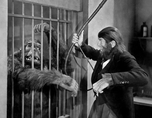 ape man bela lugosi and caged gorilla