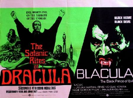 the satanic rites of dracula + blacula double-bill poster