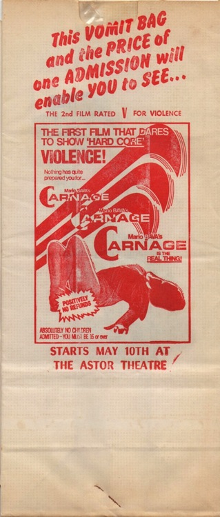 carnage bay of blood mario bava hallmark releasing vomit bag