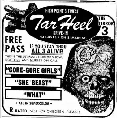 Gore-Gore-Girls-She-Beast-What-Tar-Heel-drive-in-1970s-ad-mat