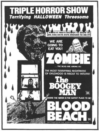 triple horror show zombie boogey man blood beach jerry gross ad mat