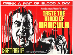 taste the blood of drink of dracula british x cert quad poster