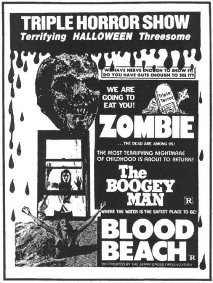 triple horror show zombie boogey man blood beach jerry gross ad mat