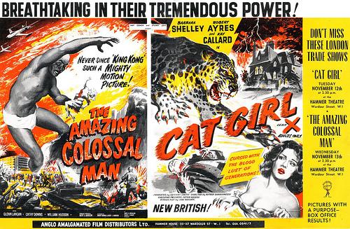 amazing colossal man + cat girl pressbook
