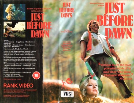 Just before dawn VHS