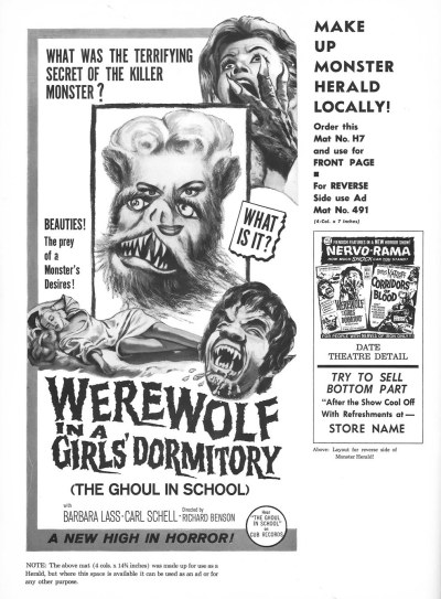 Lycanthropus - Werewolf in a Girl's Dormitory - Ghoul in a Girl's Dormitory - 1961 - Paolo Heusch - pressbook005