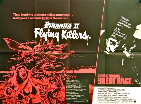 Piranha II: Flying Killers & Silent Rage double bill Quad