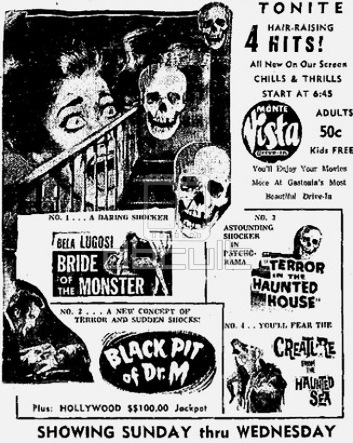 bride of the monster + black pit of dr. m + terror in the haunted house + creature from the haunted sea