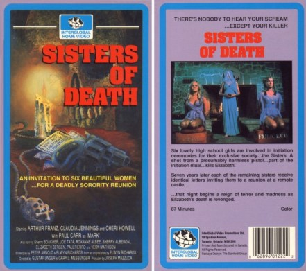 sisters of death vhs front & back