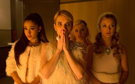 In this image released by Fox, Ariana Grande, from left, Emma Roberts, Abigail Breslin and Billie Lourd appear in a scene from