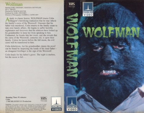 wolfman 1982 vhs front & back